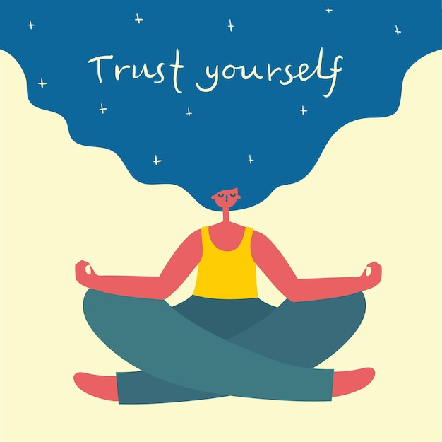 Доверяй себе. люби себя. векторная карта концепции образа жизни с текстом не забудьте полюбить себя в плоском стиле