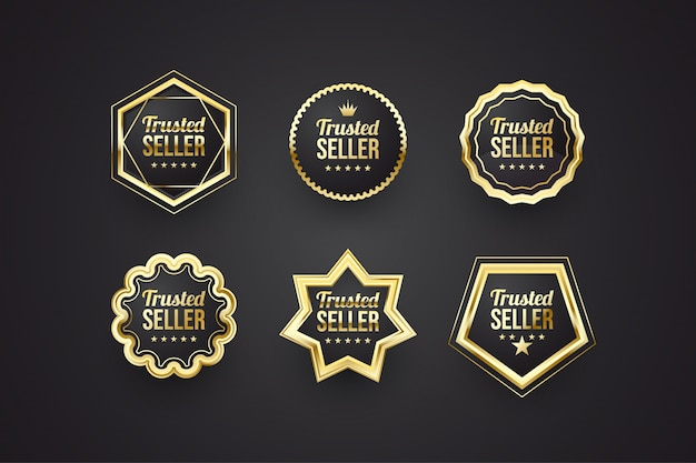 검정색과 금색 개념의 신뢰할 수있는 판매자 배지 컬렉션