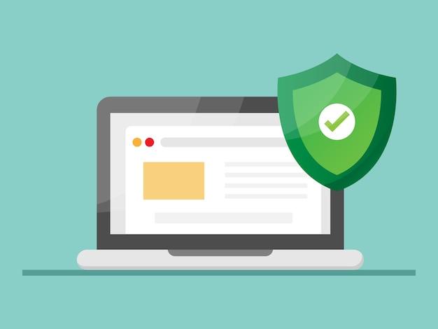 Надежный сайт с ноутбуком и экраном для защиты иллюстраций