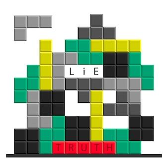Кроссворд головоломки правда или ложь или иллюстрация концепции игры.