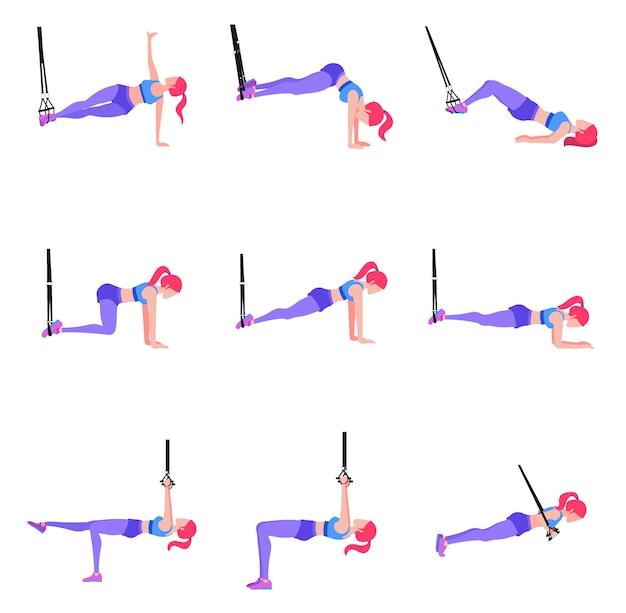 体操リングtrx、sでさまざまな演習を行う女性のセット
