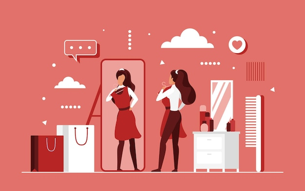 Try on fashion clothes concept with cartoon beautiful woman
