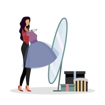 Примеряет новые наряды плоского цветового вектора безликого персонажа. покупка платья для мероприятия. покупки в одиночку. примерочная. стильная женщина изолировала иллюстрацию шаржа для веб-графического дизайна и анимации