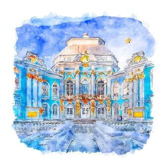 Царское село россия акварельный эскиз рисованной иллюстрации