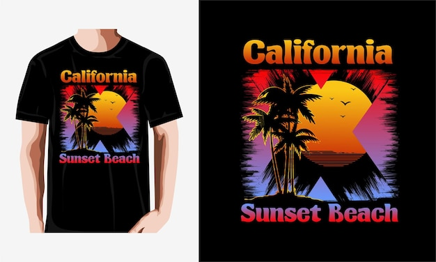 Tシャツカリフォルニアビーチヤシの木サンセットスタイルヴィンテージイラストプレミアムベクトル