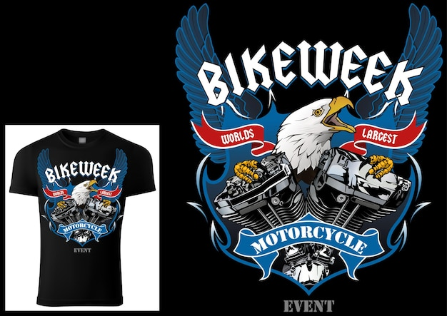 Tshirt design for bikers with eagle and engine with decorative wings and banners and texts
