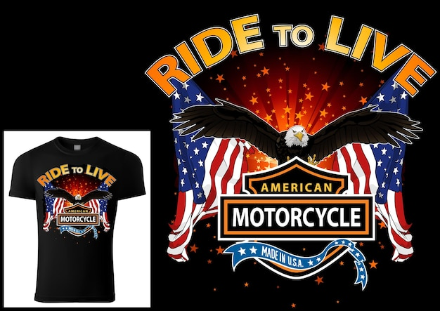 Tshirt design for bikers with eagle and flags with decorative banners and texts