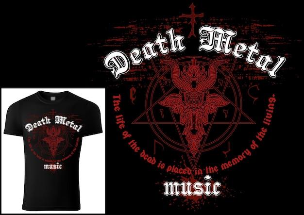 赤い悪魔主義のシンボルとグランジパターンのtシャツデザインデスメタル