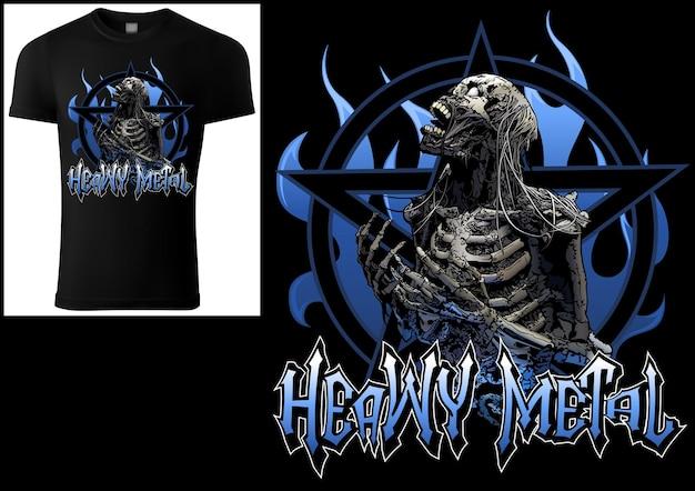 怖いスケルトンと五芒星と青い炎の背景を持つtシャツデザインヘビーメタル