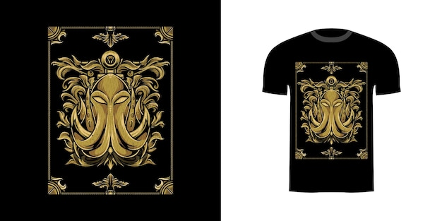 Tshirt design illustration kraken with engraving ornament