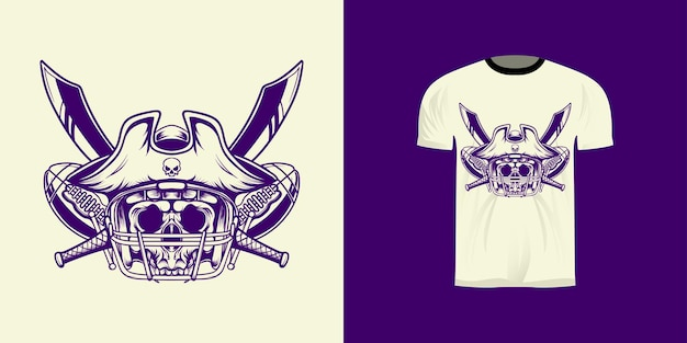Tshirt design illustration line art pirate king american football with retro style