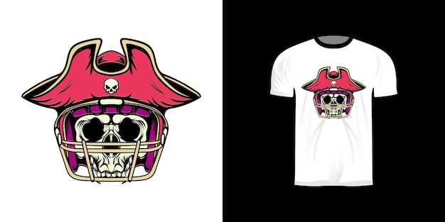 Tshirt design illustration pirate king american football with retro style