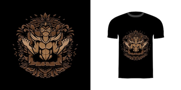 Tshirt design illustration super hero with mask