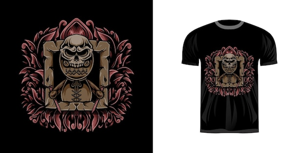 Tshirt design illustration vodoo with engraving ornament