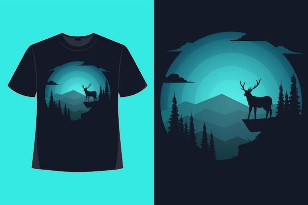 Tshirt design of nature deer mountain landscape blue color retro vintage illustration