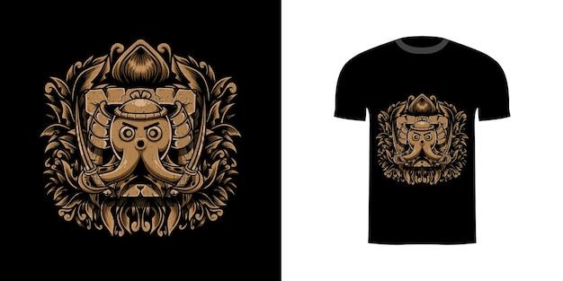 Футболка дизайн осьминог самурай с гравировкой орнамента