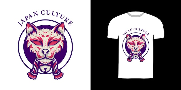 Tshirt 디자인 복고풍 일러스트 키츠네 일본
