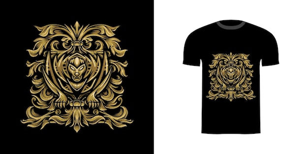 Tshirt design sabertooth with engraving ornament for tshirt design
