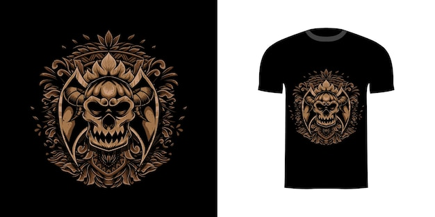 Дизайн футболки череп иллюстрация с гравировкой орнамента