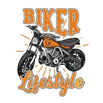 오토바이 빈티지 일러스트와 함께 tshirt 디자인 슬로건 타이포그래피 바이커 라이프 스타일