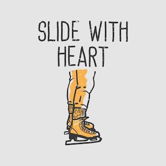 Слайд типографии с лозунгом дизайна футболки с винтажной иллюстрацией сердца