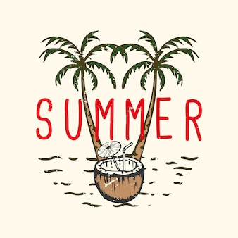 코코넛 주스 빈티지 일러스트와 함께 tshirt 디자인 슬로건 타이포그래피 여름