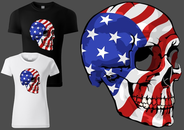 Tshirt design with a skull painted with the american flag