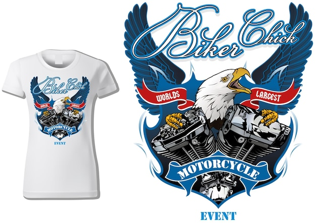 Tshirt design for woman bikers with eagle and engine with decorative wings in background