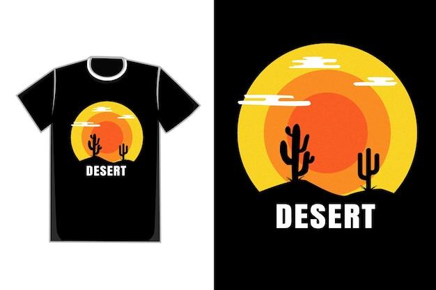 티셔츠 플랫 사막 색상 오렌지 블랙과 옐로우