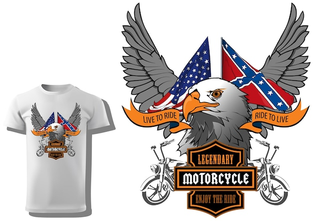 Tshirt print design for motorcyclists with eagle head and us flags and decorative wings and banner