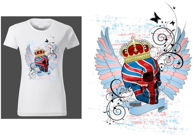 Дизайн принта футболки с изображением черепа с флагом великобритании