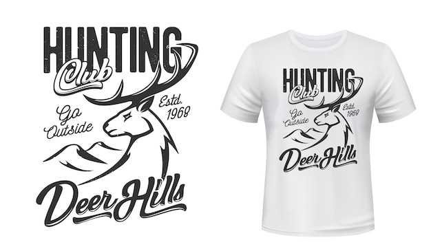 Tshirt print with deer mascot for hunting club