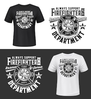 Tshirt print with firefighters helmet, ax, ladder and water tower