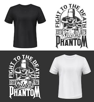 기사와 칼로 tshirt 인쇄, 헬멧과 갑옷을 입고 싸우는 클럽 마스코트 중세 전사. 단색 의류 디자인 실버 팬텀 타이포그래피, 절연 티셔츠 인쇄 또는 라벨