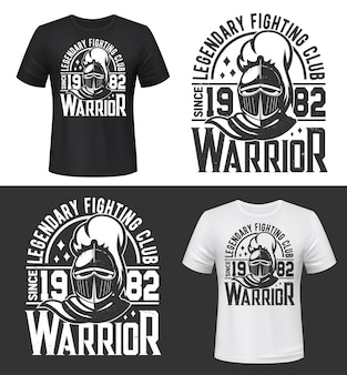 Tshirt print with knight head mascot for fighting club
