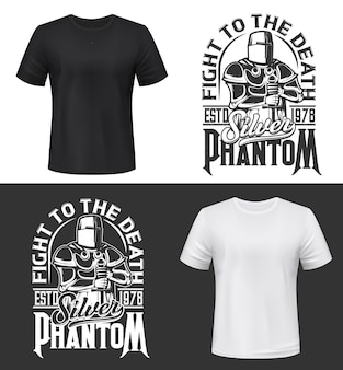 Tshirt print with knight and sword , fight club mascot medieval warrior wearing helmet and armor. monochrome apparel design silver phantom typography, isolated t shirt print or label