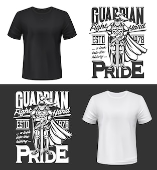 Tshirt print with knight and sword , medieval warrior in helmet full height. fight club mascot monochrome apparel design guardian pride typography, isolated t shirt print, label or emblem