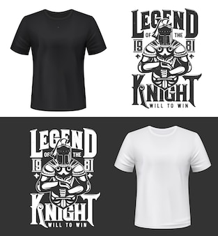 Tshirt print with knight and sword, medieval warrior mascot in helmet, cape and armour. monochrome apparel design with legend knight typography, isolated t shirt print, emblem or label