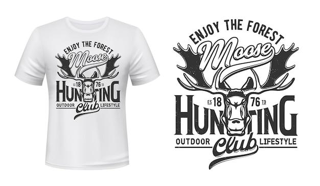 Tshirt print with moose, mascot. elk on white apparel