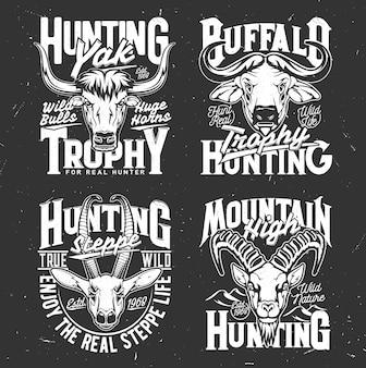 Печать на футболке с головами горного козла, буйвола, яка и газели. векторные талисманы диких животных для охотничьего клуба, трофейные черно-белые этикетки охотника для дизайна одежды, изолированные эмблемы для охотничьего общества