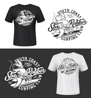 Tshirt print with smiling lobster mockup, funny crayfish mascot for surfing club on black and white apparel background with typography. grunge fashion emblem design isolated t shirt print label
