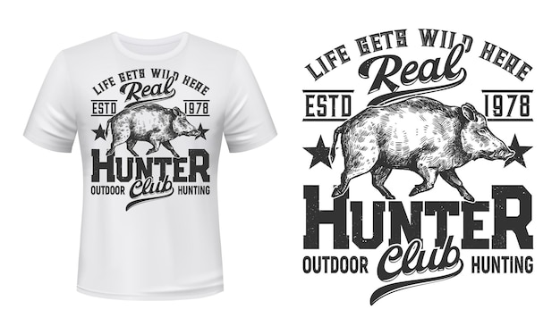 Tshirt print with wild boar mascot for hunting club