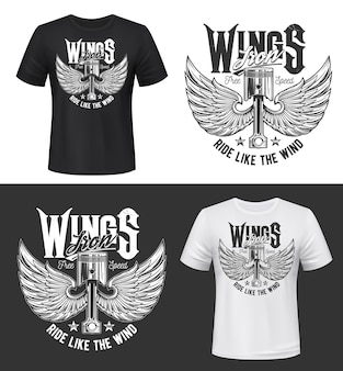 날개 달린 자동차 엔진 밸브가있는 t 셔츠 프린트. 새 또는 천사 날개와 타이포그래피가 바람처럼 타고있는 레트로 자동차 부품. 레이싱 클럽 의류, 빈티지 티셔츠 인쇄 템플릿