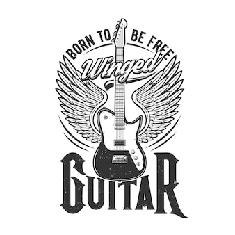 Tshirt print with winged electric guitar, emblem for music band apparel design