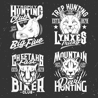 Tシャツには、クーガーピューマ、チーター、サイ、マウンテンライオン、オオヤマネコの頭がプリントされています。狩猟やバイカークラブのアパレルデザインのベクトルマスコット。とどろく野生の猫の動物とタイポグラフィセットのtシャツのエンブレム