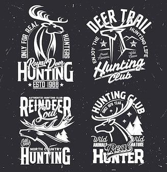 鹿のプリントtシャツ、ハンティングクラブのマスコット