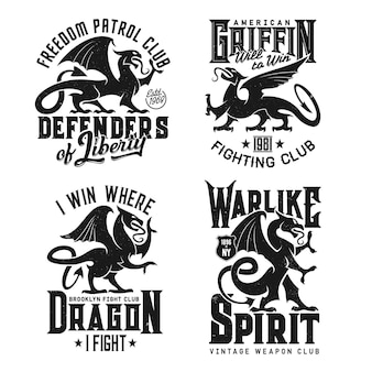 Tshirt prints with heraldic griffins vector mascot