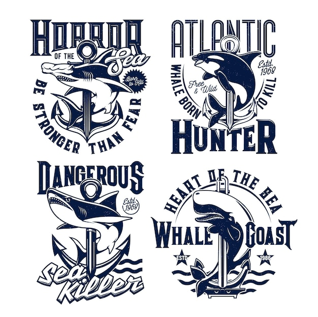 Tshirt prints with ocean killer whale and shark