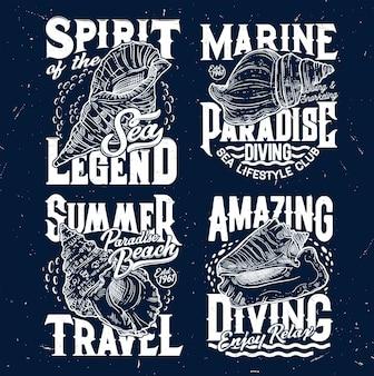 Tシャツはアパレルデザインのためのスケッチ貝殻でプリントします。巻き貝とタイポグラフィのベクトルラベル。マリンダイビングクラブまたは航海スポーツチームの孤立したセットのための刻まれたグランジtシャツのプリントまたはエンブレム
