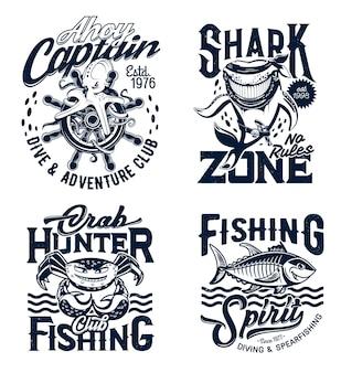 수중 동물 마스코트가있는 티셔츠 인쇄